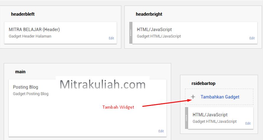 Cara memasang widget di blog