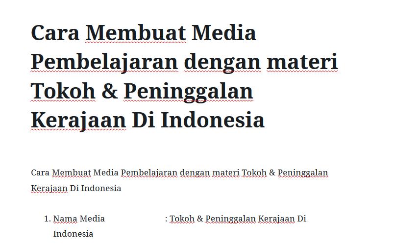 Cara Membuat Media Pembelajaran dengan materi Tokoh & Peninggalan Kerajaan Di Indonesia