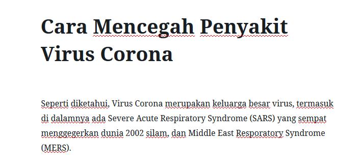 Cara Mencegah Penyakit Virus Corona