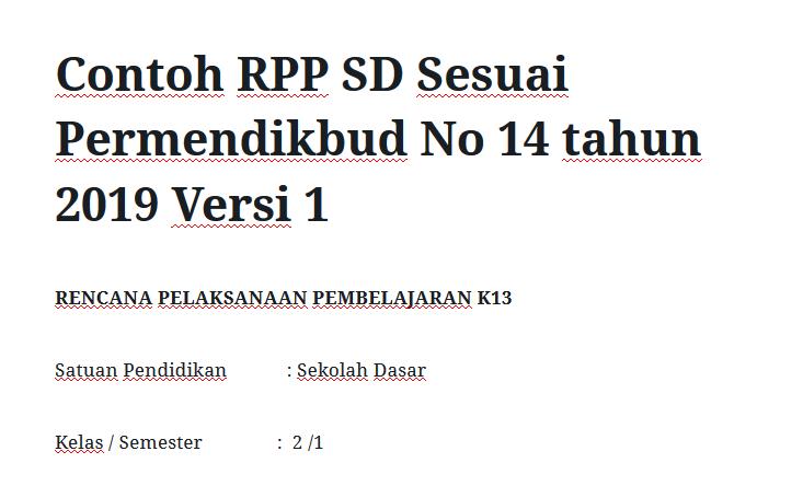 Contoh RPP SD Sesuai Permendikbud No 14 tahun 2019 Versi 1