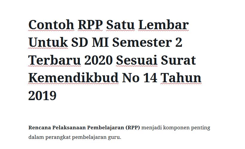 Contoh RPP Satu Lembar Untuk SD MI Semester 2 Terbaru 2020 Sesuai Surat Kemendikbud No 14 Tahun 2019