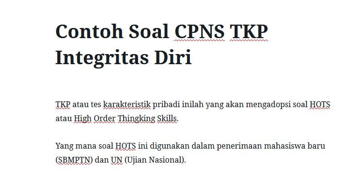Contoh Soal CPNS TKP Integritas Diri