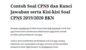 Contoh Soal Cpns Tiu 2019 2020 Mitra Kuliah