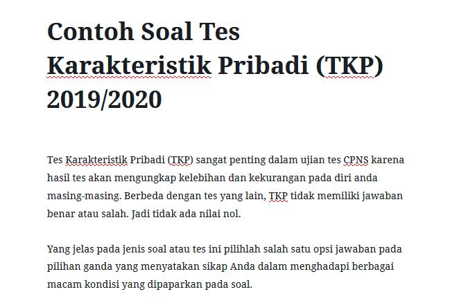 Contoh Soal Tes Karakteristik Pribadi (TKP) 2019 2020