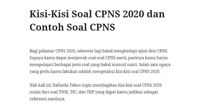 Kisi Kisi Soal Cpns 2020 Dan Contoh Soal Cpns Mitra Kuliah