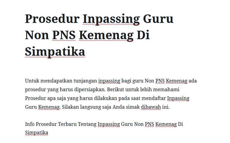 Prosedur Inpassing Guru Non PNS Kemenag Di Simpatika