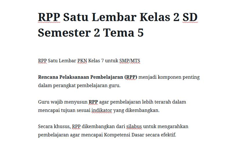 RPP Satu Lembar Kelas 2 SD Semester 2 Tema 5