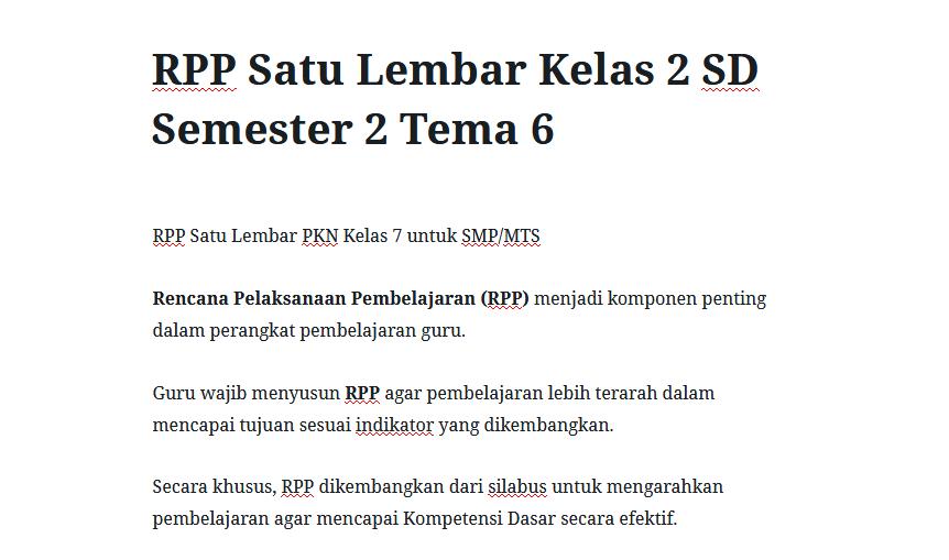 RPP Satu Lembar Kelas 2 SD Semester 2 Tema 6