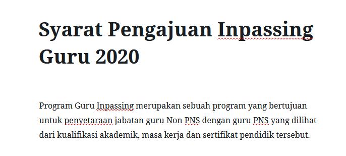 Formulir Pendaftaran Inpassing Guru Non PNS Tahun 2020