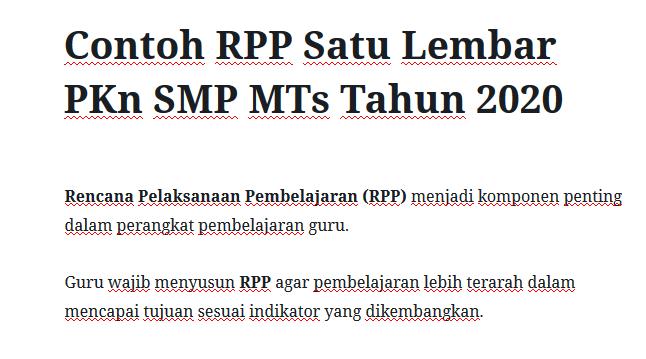 Contoh Rpp Satu Lembar Pkn Smp Mts Tahun 2020 Mitra Kuliah