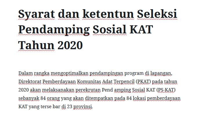 Syarat dan ketentun Seleksi Pendamping Sosial KAT Tahun 2020
