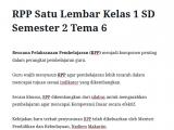 RPP Satu Lembar Kelas 1 SD Semester 2 Tema 6