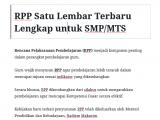 RPP Satu Lembar Terbaru Lengkap untuk SMP MTS